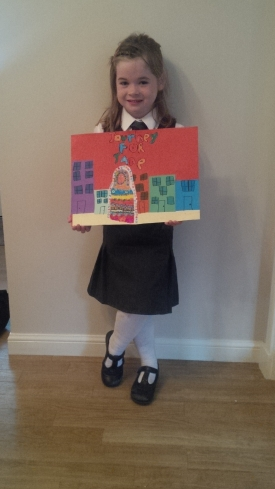 Isla with her painting