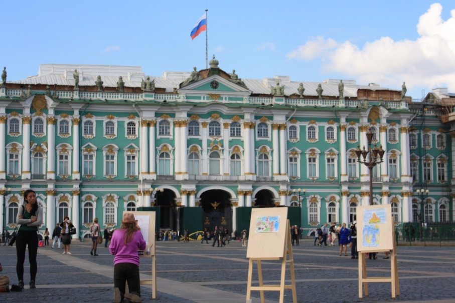 Artists painting outside the Hermitage