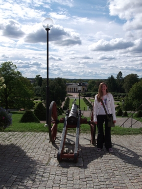 Jane beside the canon